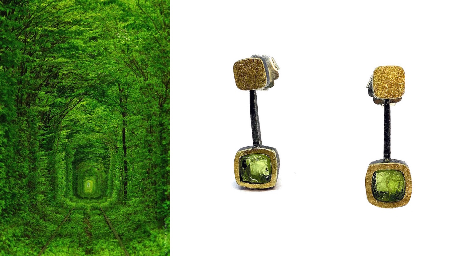 large squared rough peridot earrings in movement in silver and gold