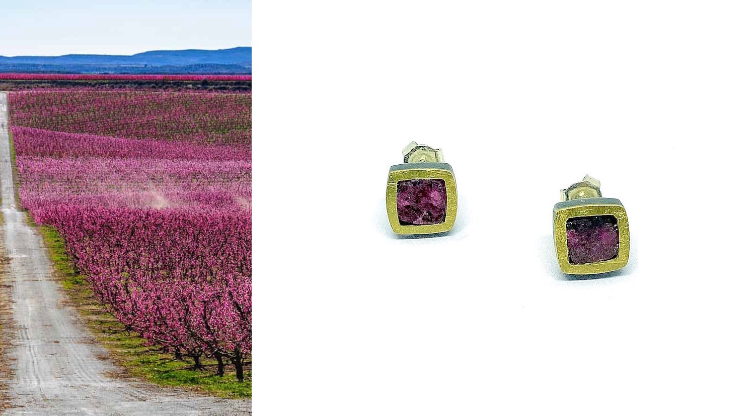 squared rough pink turmaline earrings in silver and gold preasure clasp