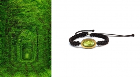 OVAL ROUGH PERIDOT BRACELET IN SILVER AND GOLD WITH MACRAMÉ ARM