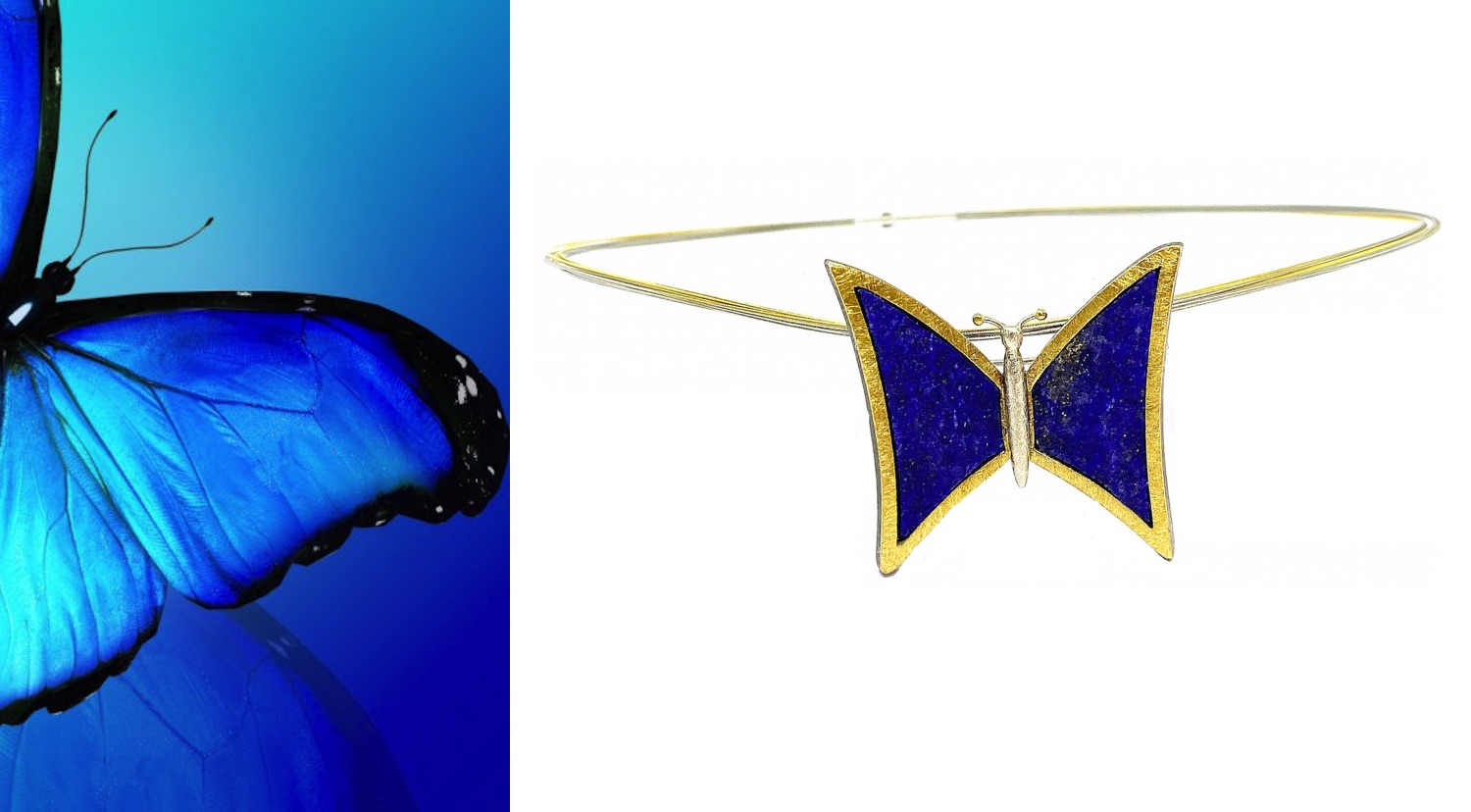 rough lapislazuli butterfly pendant broch in silver and gold